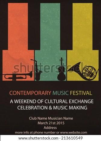 Vector Illustration Vintage Music Festival Flyer Stock Photo (Photo - music brochure