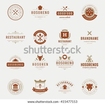 Vintage Restaurant Logos Design Templates Set Stock Vector 415477153