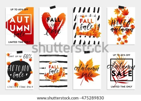 Collection Autumn Sale Other Typography Flyer Stock Vector 475289830