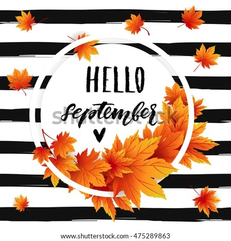 Fall Leaf Wallpaper For Mobile Hello September Autumn Flyer Template Lettering Stock