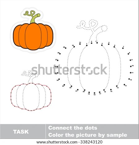 Vector Pumpkin Be Traced By Numbers Stock Vector 338243120 - sample dot game template