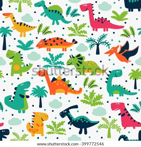 Cute Baby Sorry Hd Wallpaper Vector Seamless Pattern Funny Dinosaurs Clouds Stock