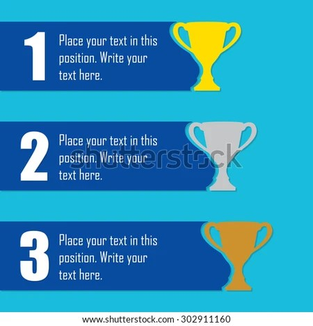 Trophy Cups Infographics Template First Place Stock Vector - first place award template