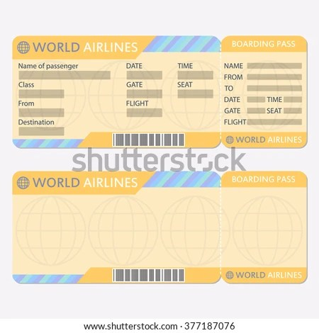 Airline Plane Ticket Template Boarding Pass Stock Vector HD (Royalty - airplane ticket template