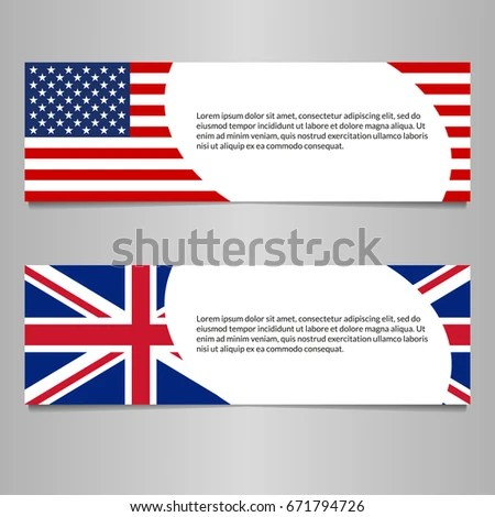 US UK Flag Banner Header Template Stock Vector (2018) 671794726