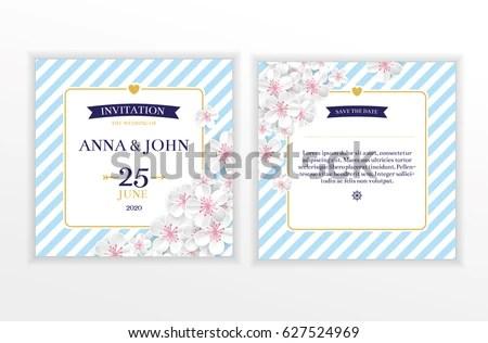 Marine Nautical Wedding Invitation Anchor Stripes Stock Vector - template typename