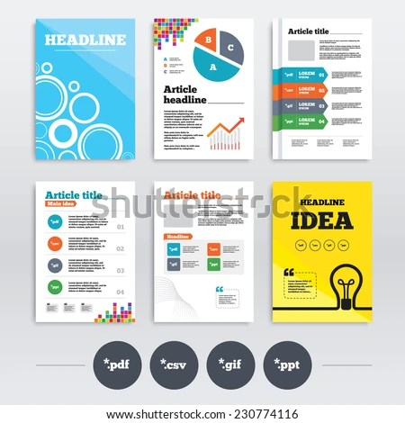 Brochure Design A 4 Flyers Document Icons Stock Vector (2018