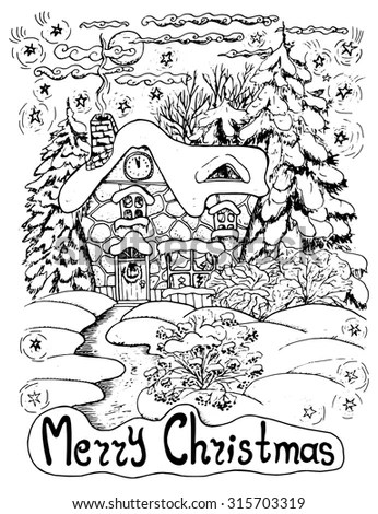 Black White Christmas Card House Conifers Stock Vector 315703319 - christmas cards black and white