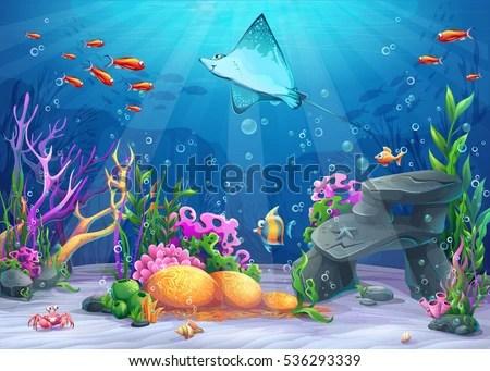 Cute Sea Turtle On Sand Hd Graphic Wallpaper Vector Cartoon Illustration Undersea World Funny Stock