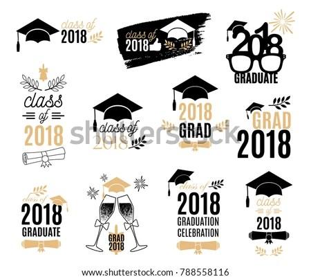 Graduation Class 2018 Labels Design Set Stock Vector 788558116 - print grad cards