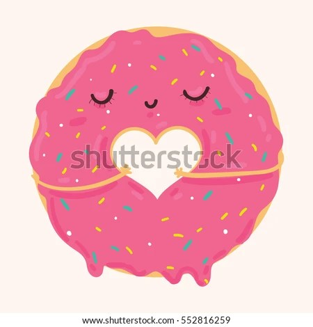 Cute Squishies Wallpaper Vector Illustration Cute Pink Cartoon Donut Stock Vector