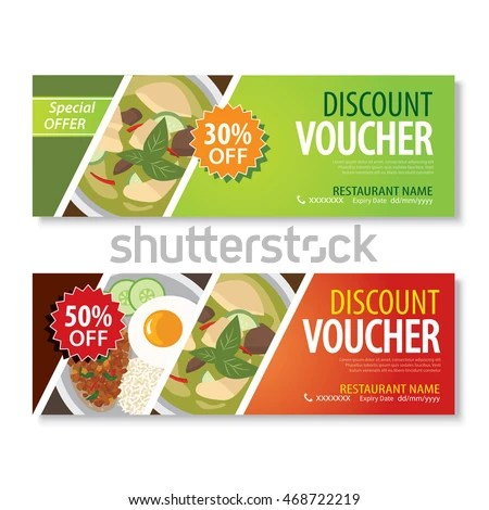 Discount Voucher Template Thai Food Flat Stock Photo (Photo, Vector - Lunch Voucher Template