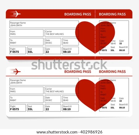 Template Airline Boarding Pass Tickets Heart Stock Illustration - airplane ticket template