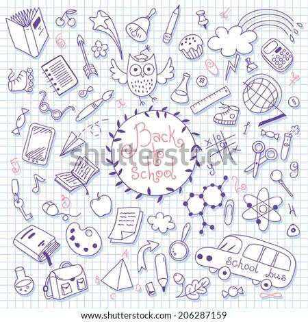 Back School Background Sketches Design Elements Stock Photo (Photo - background sketches