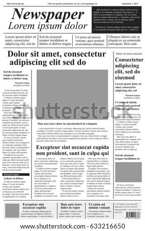 Vintage Newspaper Journal Vector Template Paper Stock Vector - newspaper headline template