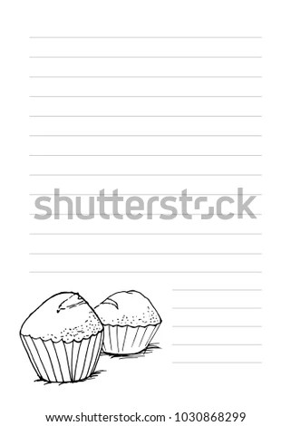 Notepaper Template Cupcakes Hand Drawn Style Stock Vector HD - note paper template