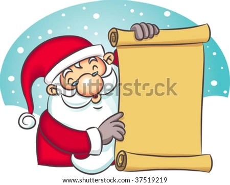 Illustration Santa Claus Holding Blank List Stock Vector HD (Royalty - santa list blank