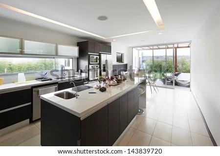 Interior Design Modern Big Kitchen Stock Photo 143839720