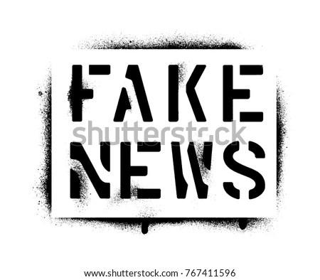Fake News Spray Paint Graffiti Stencil Stock Vector (Royalty Free