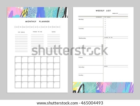 Monthly Planner Plus Weekly List Templates Stock Vector (Royalty