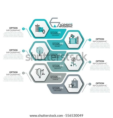 Creative Infographic Design Template 6 Hexagonal Stock Vector - Project Design Template