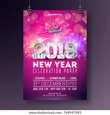 New Year Party Celebration Poster Template Stock Vector 768947983 - new year poster template