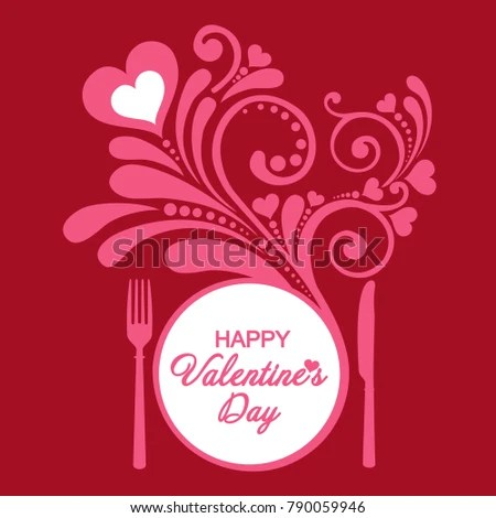 Happy Valentines Day Restaurant Menu Card Stock Vector 790059946 - valentines day menu template