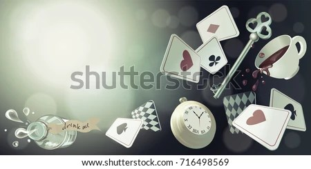 Money Falling Wallpaper Alice Wonderland Playing Cards Pocket Watch Stock Vector