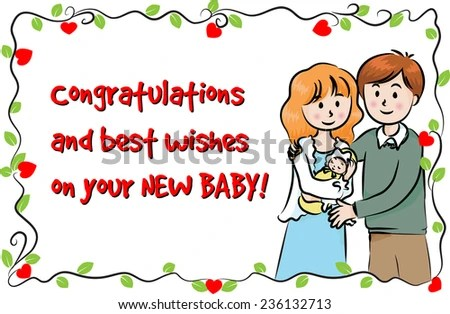 Greeting Card New Born Baby Stock Vector HD (Royalty Free) 236132713 - baby congratulation card