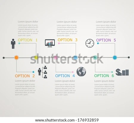 Timeline Infographics Template Stepwise Structure Stock Vector