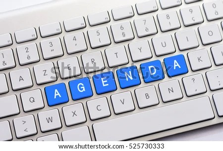 AGENDA Writing On White Keyboard Stock Photo (Royalty Free - agenda writing