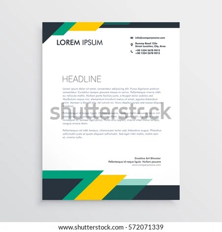 Modern Letterhead Design Template Geometric Shapes Stock Vector