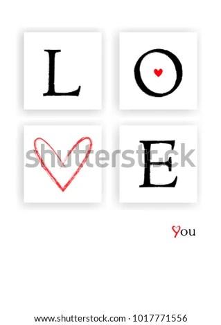 Valentines Day Card Love Word Frames Stock Vector 1017771556 - word design frames