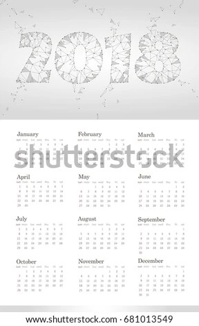 2018 Calendar Template Week Starts Sunday Stock Vector HD (Royalty