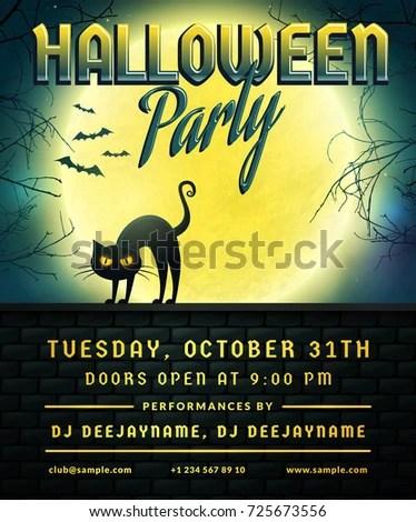 Halloween Party Invitation Flyer Template Full Stock Vector - invitation flyer sample