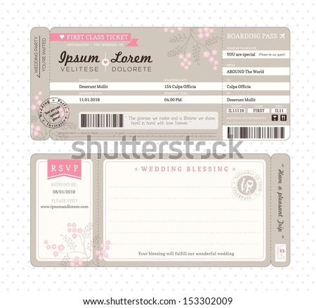 Boarding Pass Ticket Wedding Invitation Template Stock Vector - boarding pass template