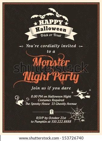 Halloween Party Invitation Template Cardposterflyer Stock Vector - halloween invitation template