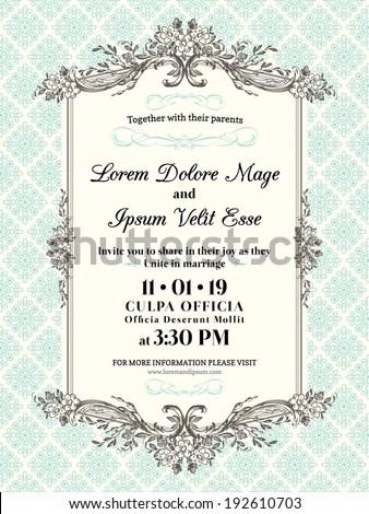 Vintage Wedding Invitation Border Frame Template Stock Vector