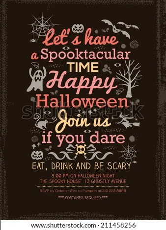 Halloween Party Typography Invitation Template Cardposterflyer - halloween invitation template