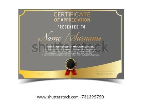 Creative Certificate Template Completion Award Golden Stock Vector