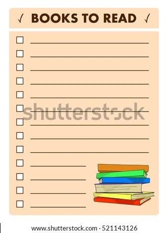 Book List Reading Log Books Read Stock Vector 521143126 - Shutterstock