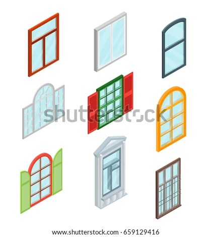 Glass Windows Set Isometric View Decoration Stock Vector HD (Royalty - isometric view