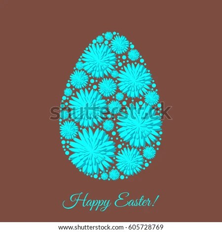 Happy Easter Greeting Card Template Decorated Stock Vector 605728769
