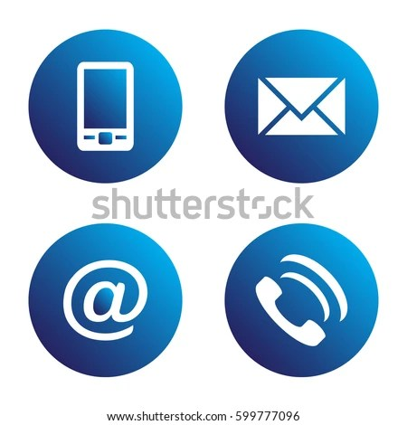 Vector Icon Set Blue Spherical Communication Stock Vector 599777096 - address to phone