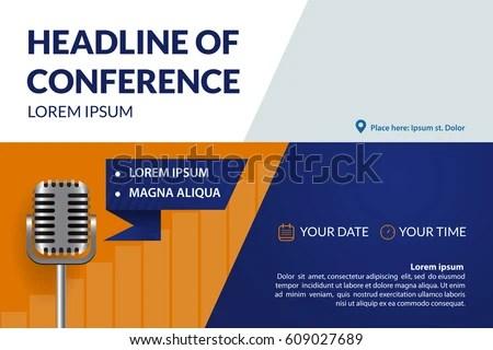 Business Conference Invitation Concept Retro Microphone Stock Vector