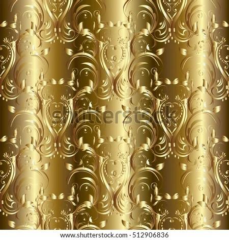 As Royal Decor 3d Wallpaper Damask Seamless Pattern Vintage Decorative Gold Stock