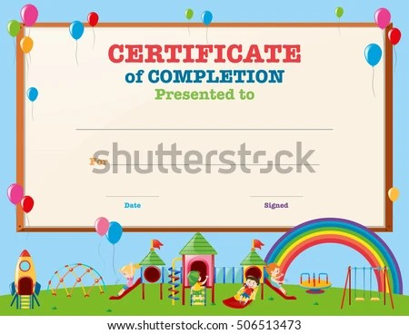 Certificate Template Kids Playground Illustration Stock Vector HD - certificate template for kids