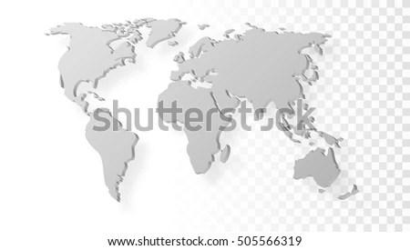 Blank Grey Abstract World Map Shadow Stock Photo (Photo, Vector