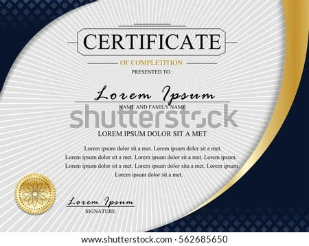 Certificate Template Luxury Golden Elegant Pattern Vector - design of certificate of participation