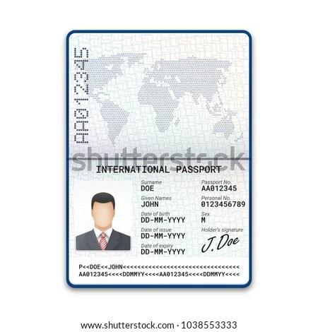 International Male Passport Template Sample Photo Stock Vector HD - passport template